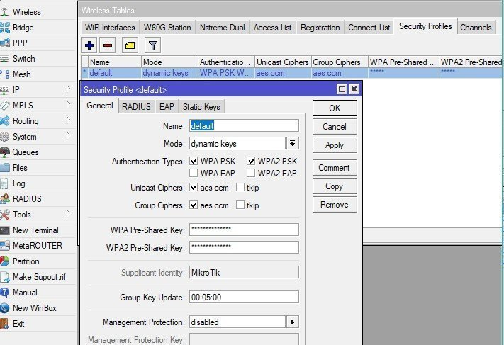 Mikrotik wireless security profile