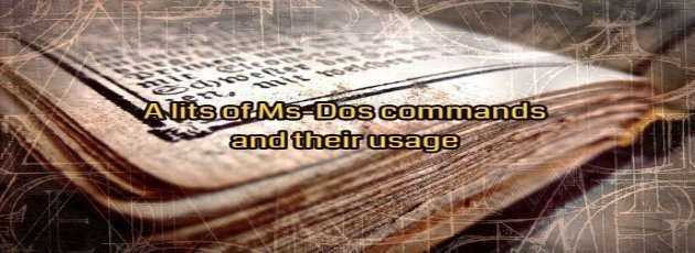 MS DOS COMMAND LIST TUTORIAL