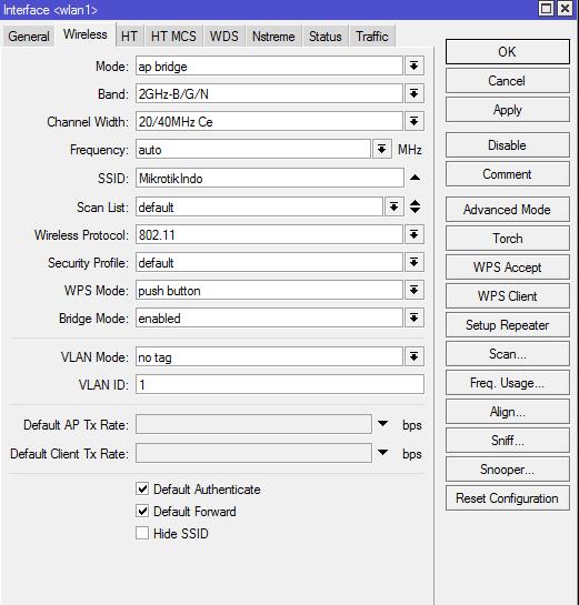 Setting Wireless MikrotikRB951G-2HnD