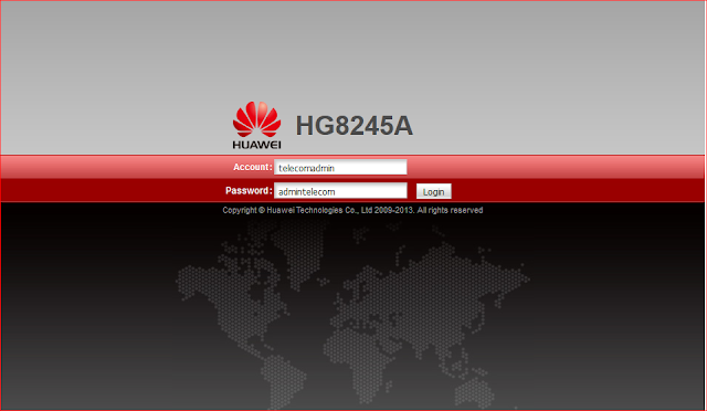 Username & Password Modem GPON Huawei HG8245A