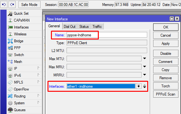 Mikrotik Interface PPPoE