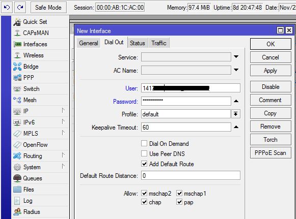 Mikrotik Interface PPPoE