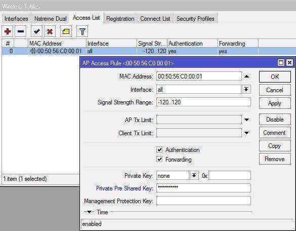 Mikrotik Wireless Access List