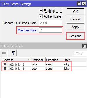 Bandwidth Test Session Mikrotik