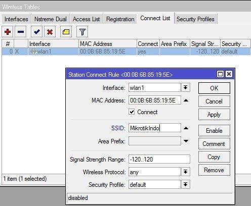 Mikrotik Wireless Connection List