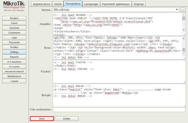 Mikrotik Usermanager Templates