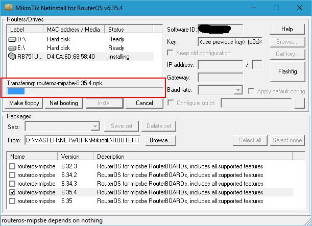 Install Mikrotik OS With Netinstall