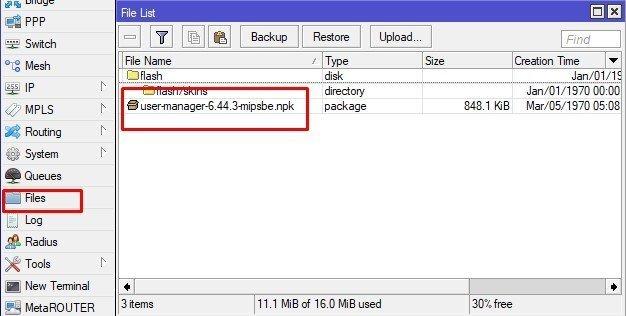 Install User manager Mikrotik