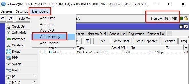dashboard > add memory