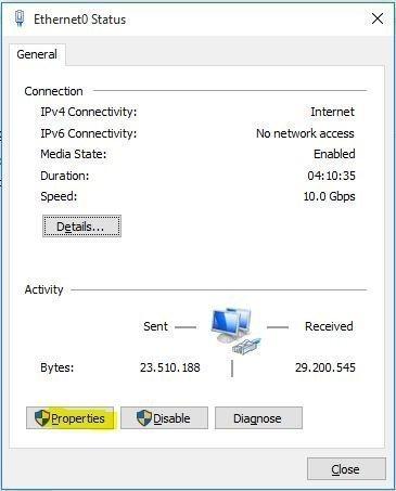 Ethernet0 Status