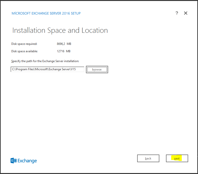 Exchange Server 2016 Setup