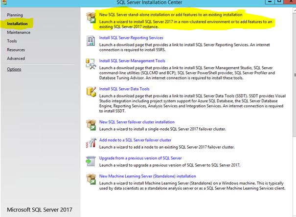 SQL Server Installation Center