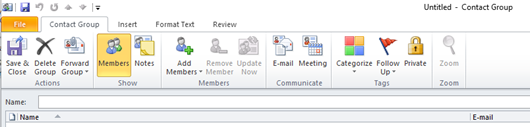 Outlook Contacts Members