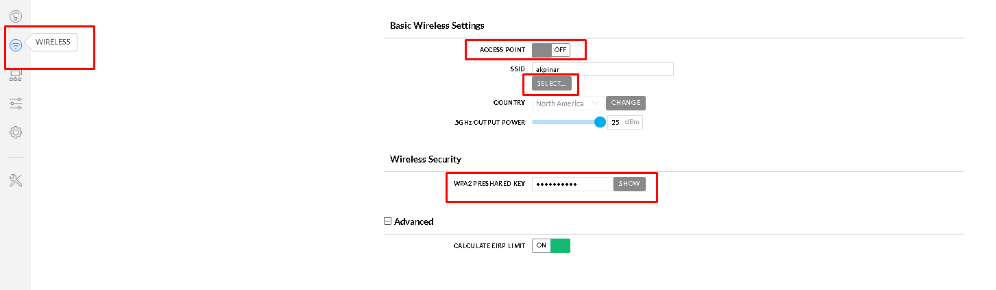 Basic Wireless Settings Station Configure