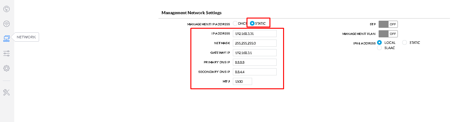 Management Network Setting