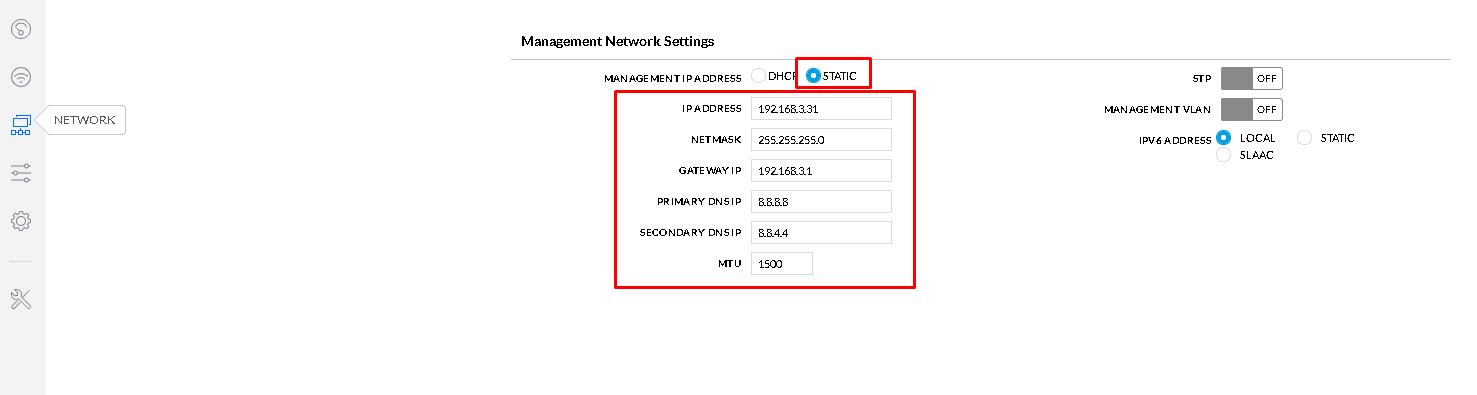 Management Network Setting